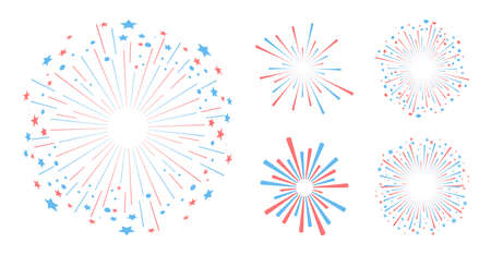 Party and holiday event firework icon flat set isolated vector illustration. Vector illustration 矢量图像