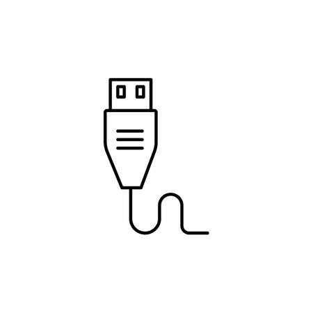 USB super speed connector cable line art vector icon for apps and websites, USB cable icon, USB