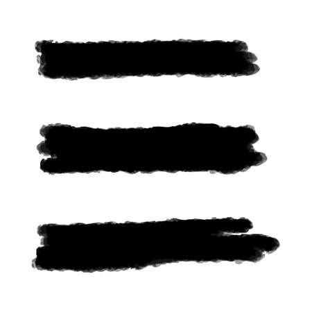 Vektorschwarzer Hintergrund für Textfarbe, Tintenpinselstrich, Pinsel, Linie oder Textur. Schmutziges künstlerisches Gestaltungselement, Kasten, Rahmen oder Hintergrund für Text.
