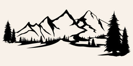 Mountains silhouettes. Mountains vector, Mountains vector of outdoor design elements, Mountain scenery, trees, pine vector, Mountain scenery. Çizim