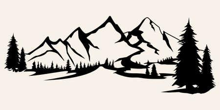 silhouettes de montagnes. Vecteur de montagnes, vecteur de montagnes d'éléments de conception extérieure, paysages de montagne, arbres, vecteur de pin, paysages de montagne.