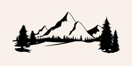 Berge Silhouetten. Gebirgsvektor, Gebirgsvektor von Gestaltungselementen im Freien, Berglandschaft, Bäume, Kiefernvektor, Berglandschaft.