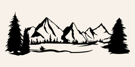 Mountains silhouettes. Mountains vector, Mountains vector of outdoor design elements, Mountain scenery, trees, pine vector, Mountain scenery. Ilustracja