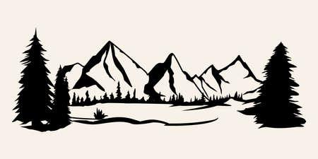 Siluette delle montagne. Vettore di montagne, vettore di montagne di elementi di design all'aperto, paesaggio di montagna, alberi, vettore di pino, paesaggio di montagna.