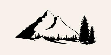 산 실루엣입니다. 산 벡터, 야외 디자인 요소의 산 벡터, 산 풍경, 나무, 소나무 벡터, 산 풍경. 벡터 (일러스트)