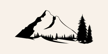 Mountains silhouettes. Mountains vector, Mountains vector of outdoor design elements, Mountain scenery, trees, pine vector, Mountain scenery. 일러스트