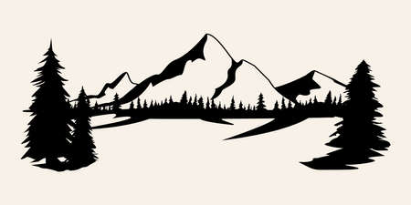 Mountains silhouettes. Mountains vector, Mountains vector of outdoor design elements, Mountain scenery, trees, pine vector, Mountain scenery. 矢量图像
