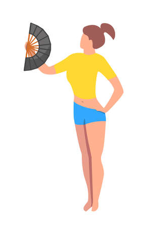 a girl feel hot. They are use a fan. a girl holding fan in her hand. character girl in flat vector style.