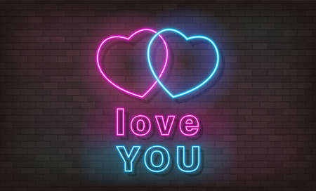 Love You neon text, bright signboard, light banner. Valentine Day logo neon, emblem. Vector illustration
