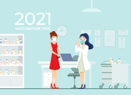 Flu Shot for young girl, woman waccination. 2021 safe year vector illustration