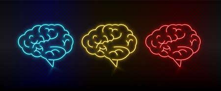 Neon icon set brine, brainstorming. Set of red, blue, yellow neon vector icon Ilustração