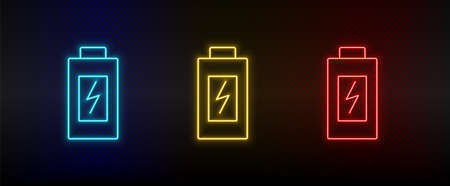 Neon icon set battery, charging. Set of red, blue, yellow neon vector icon