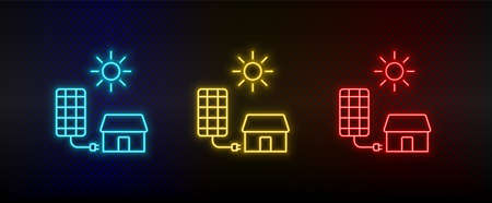 Neon icon set solar, charger, home. Set of red, blue, yellow neon vector icon