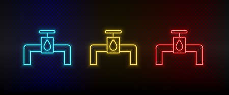 Neon icon set pipes, energy, water. Set of red, blue, yellow neon vector icon