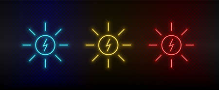 Neon icon set sun, energy. Set of red, blue, yellow neon vector icon on transparency dark background