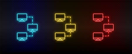 Neon icon set Computer lan. Set of red, blue, yellow neon vector icon