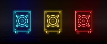 Neon icon set Bass hardware. Set of red, blue, yellow neon vector icon