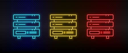 Neon icon set Backup cloud files. Set of red, blue, yellow neon vector icon