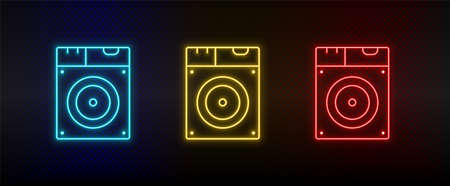 Neon icon set Disk drive. Set of red, blue, yellow neon vector icon
