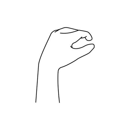 Grabbing hand. Man s hand pinching invisible item. Hand holding something with two fingers. Vector flat outline icon illustration isolated on white background