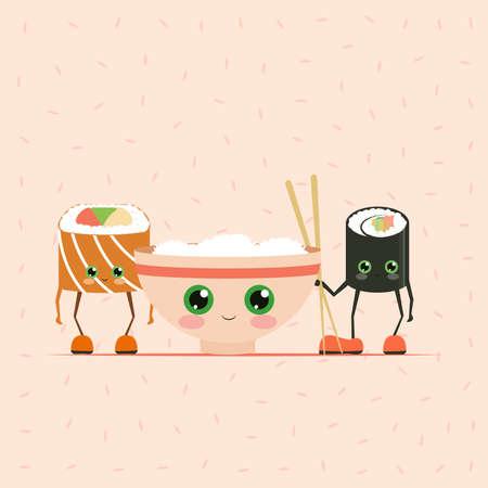 Sushi cartoon character on white background, Japan food, Japanese food, food