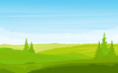 Grass Landscape with Sky Trees Clouds vector illustration. Spring landscape green background vector illustration