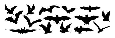Big set of black silhouettes of bats, vector Иллюстрация