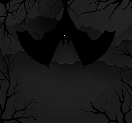 Bats in the forest in the night. Vector illustration paper style