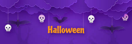 Happy Halloween, clouds with full moon night scene, greeting card paper cut style, invitation poster vector purple background illustration