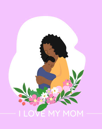 Cute African American mother holding her cute baby with flowers vector illustration. Happy mothers day. I love my mom