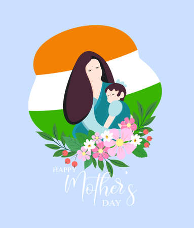 Card of Happy Mothers Day. Vector illustration with beautiful woman and child - Indian language calligraphy mother s font. Vector