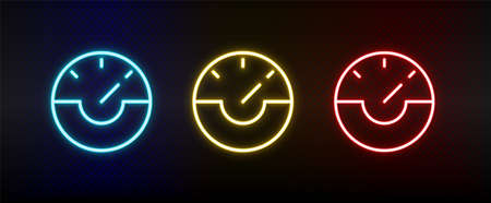 dash, gauge, speed neon icon set. Set of red, blue, yellow neon vector icon