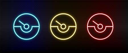 gauge, speed, speedometer neon icon set. Set of red, blue, yellow neon vector icon