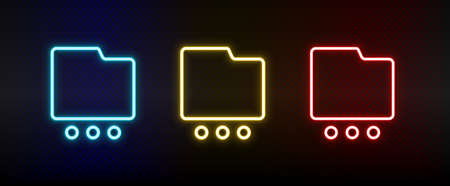 folder, more, options neon icon set. Set of red, blue, yellow neon vector icon