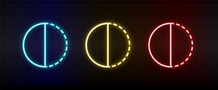 adjustment, contrast neon icon set. Set of red, blue, yellow neon vector icon Vektoros illusztráció