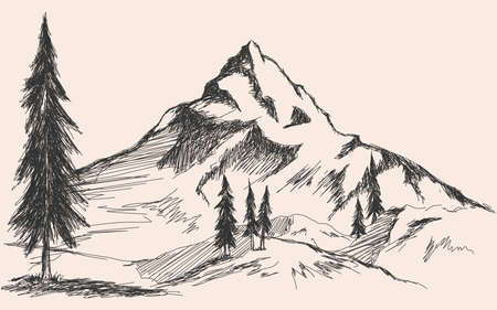 Hand drawn sketch of pine forest and mountains. Vector background Vector Illustratie
