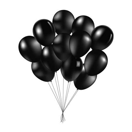 Bunch of black glossy inflatable balloons over light background