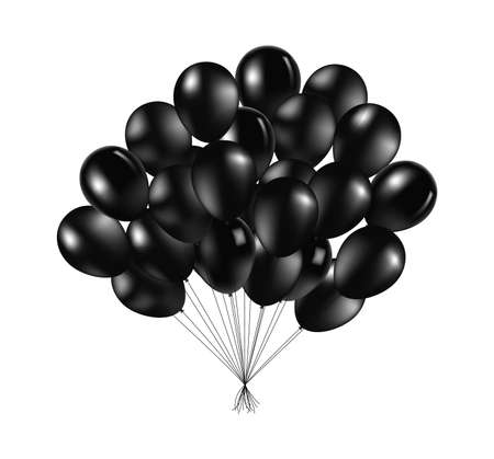 Bunch of black glossy inflatable balloons over light background Vector Illustration