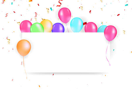 Illustration of a banner with balloons. Party and celebration or holidays vector illustration. Balloons free board and confetti vector illustration
