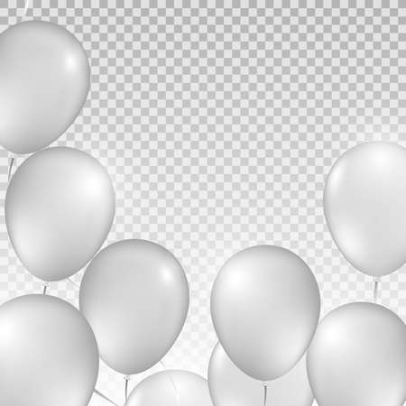 Ceiling Covered in White Balloons on transparent background. Vector illustration. Design for wedding, party, birthday. White Balloons on transparent background 矢量图像