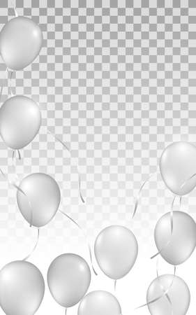 white balloons, white inflatable balls, plastic ball, background of white and gray circles, festive background of balloons monochrome, 矢量图像