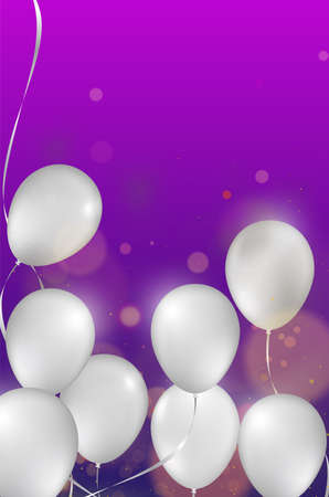 Ceiling Covered in White Balloons on purple background. Vector illustration. Design for wedding, party, birthday. White Balloons on purple background