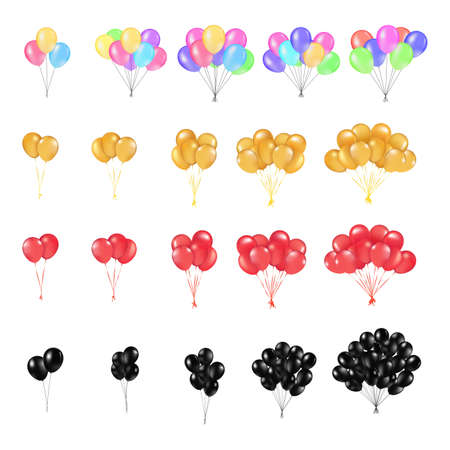 Set, Bunches and Groups of Color Glossy Helium Balloons Isolated on white Background. Vector Illustration