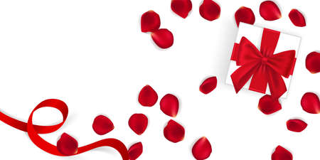 vector present box with rose petals. Valentines day, womens day and holidsy background vector illustation 矢量图像