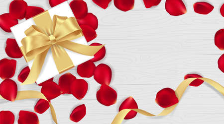 Beautiful red rose petals and golden ribbon gift on wooden texture. Happy Valentines Day. Vector background