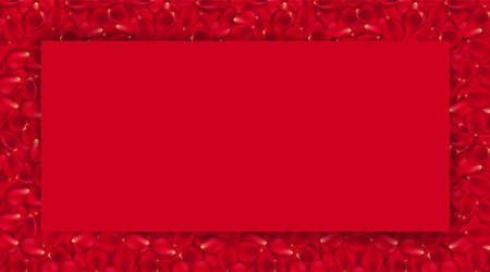 Background of beautiful red rose petals and red card for text. EPS 10 vector file included. Vector illustration red card for text on red rose walpaper