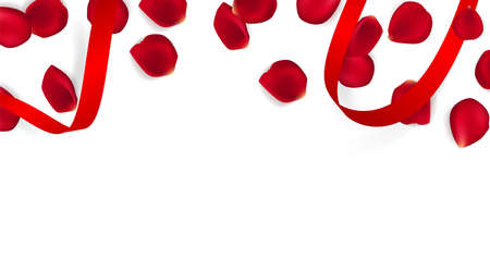 Valentines day festive composition with two red rose petals and red ribbon on a white background. Top view vector illustration. Mother day Banner design. 矢量图像