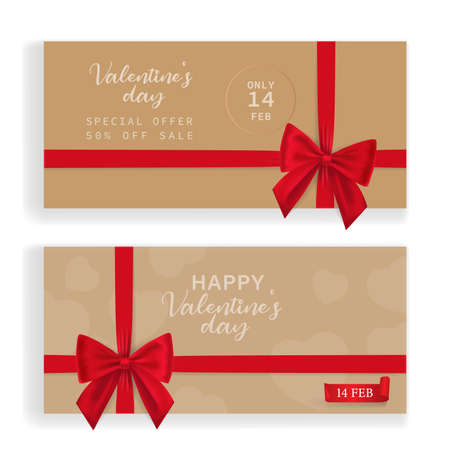 Set of beautiful cards with red gift bows with ribbons Vector. beautiful cards with red gift bows with ribbons vector illustration can be used valentines day, save day, gift card.