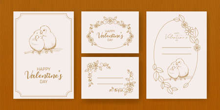 happy valentine day flyer template with hand drawn lettering. 14 February banner set with decorative ornaments. Vector set of valentines day flyer, brochure templates. Happy valentines day 矢量图像