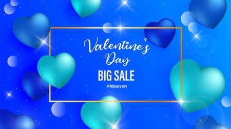 Blue background valentines day vintage background. Vector illustration valentines day blue heart background.